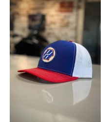 Red, White & Blue Mesh Back Hat with PD Logo