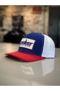Red, White & Blue Mesh Back Hat with Polen Logo