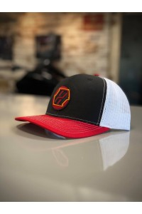 Red, Black & White Mesh Back Hat with PD Logo